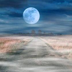 Foggy road to the moon