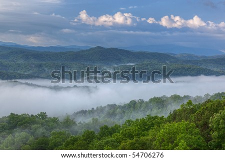 Foggy summer landscape from the West Foothills Parkway of the Great Smoky Mountains, Tennessee, USA