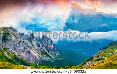Foggy summer scene in the National Park Tre Cime De Lavaredo. Sunset in Dolomites, South Tyrol. Location Auronzo, Italy, Europe. #364090325