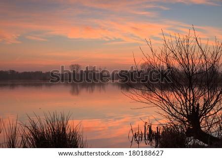 Foggy sunrise a a small pond.