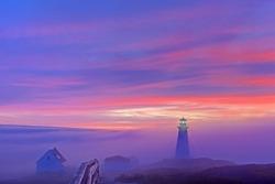 Foggy sunrise at Cape Spear.