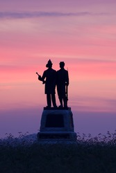 Foggy sunrise behind the 73rd New York Infantry Monument at the Gettysburg National Military Park in Pennsylvania,USA.