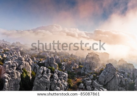 foggy sunrise in the Torcal de Antequera