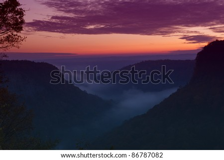 Foggy Sunrise Over The Letchworth State Park River Canyon