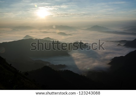 foggy valley at Chi Fa Mountain in Thailand