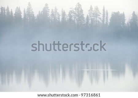 Foggy weather early in the morning on the lake.