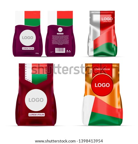 Foil food snack sachet bag packaging for coffee, salt, sugar, pepper, spices, sachet, sweets, chips, cookies colored in national flag of Madagascar. Made in Madagascar on white background
