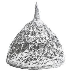 Foil hat on white background