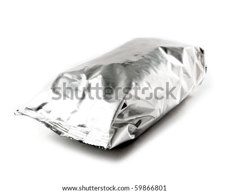 Foil package with isolated white background