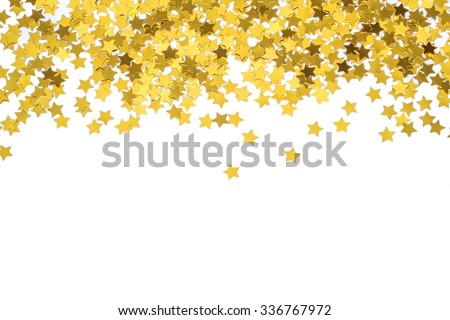 Foiled gold stars. Frame with stars. Scattered stars border. Natural foiled texture.