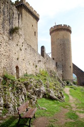Foix, Ariege, Pyrenees, France - 23 October, 2019: Medieval French castle of the counts of Foix in the Pyrenees