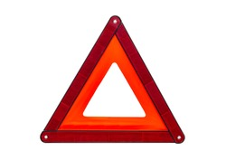 Foldaway, reflective road hazard warning triangle isolated on a white background with a clipping path.