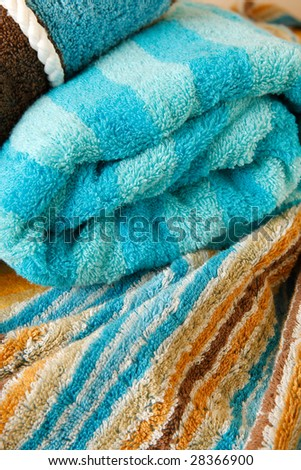 Folded colored towels