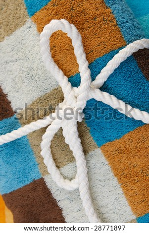 Folded colored towels - stock photo