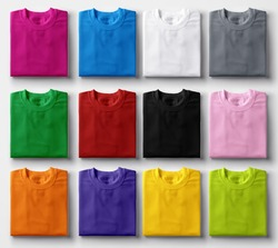 Folded colorful t-shirts on white background.