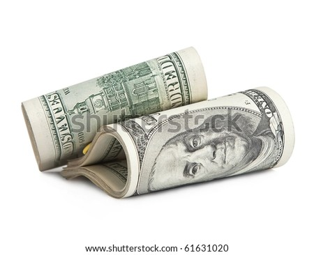 folded hundred-dollar bills, isolated on white .