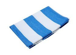 Folded kitchen towel cloth isolated. Blue white stripes tablecloth.