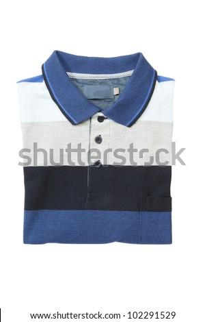 Folded man polo shirt on white isolated