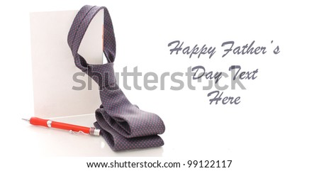 Folded Neck Tie Hanging From Greeting Card with Pen and Space for Custom text on White