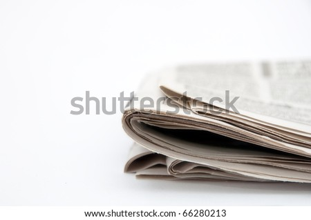 Folded newspaper, close up image