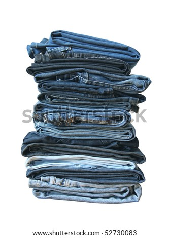 Folded old and new jeans
