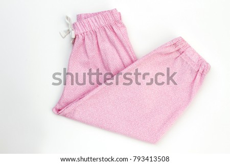 Folded pink sleepwear pants with drawstring. Fine pattern cotton fabric. Cute garments for little girls. #793413508