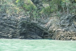 Folded sedimentary rock (limestone) found on one of the island of Surat Thani Province,Thailand.