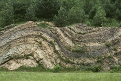 folded sedimentary rock strata, Route 23, Newfoundland, New Jersey