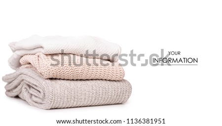 Folded sweater pattern on white background isolation