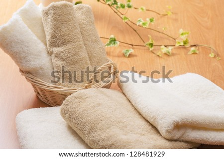 Folded towel - stock photo