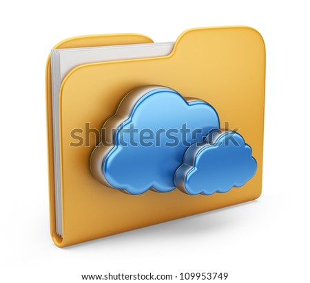 Folder and cloud. 3D computer icon isolated on white