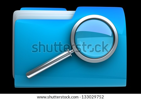 Folder and file search with magnifying glass. 3D icon isolated on black background High resolution