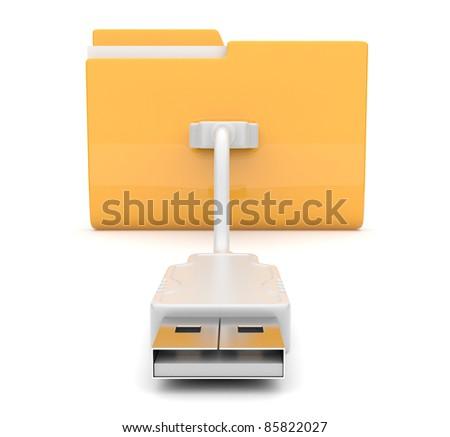 Folder 3d icon. USB onnect