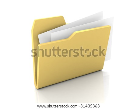 Folder icon from set. Standard open yellow folder with documents isolated on white - stock photo