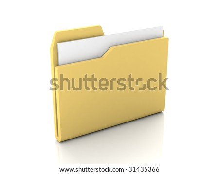 Folder icon from set. Standard open yellow folder with documents isolated on white