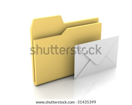 Folder icon from set. Standard yellow folder with closed mail envelope isolated on white