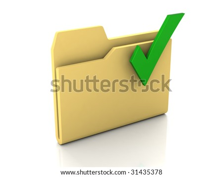 Folder icon from set. Standard yellow folder with green check mark isolated on white