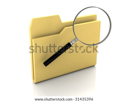 Folder icon from set. Standard yellow folder with magnifying glass isolated on white