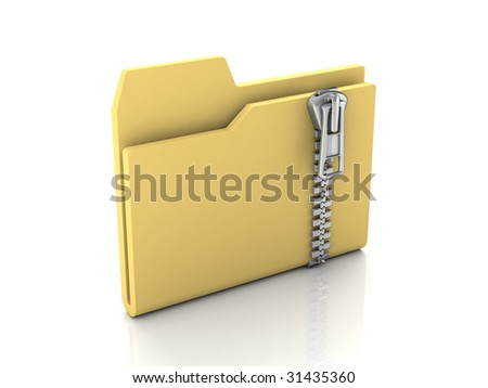 Folder icon from set. Standard yellow folder with zipper isolated on white