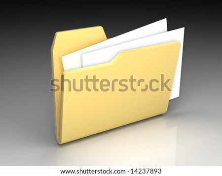 Folder icon set series. Standard open yellow folder with documents on background of the gradient