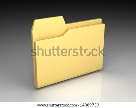 Folder icon set series. Standard yellow empty folder on background of the gradient