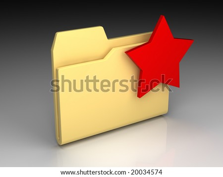Folder icon set series. Standard yellow folder with red star mark on background of the gradient