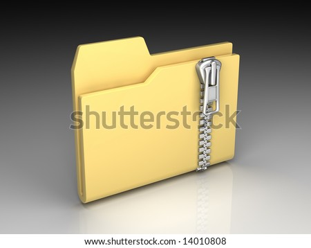 Folder icon set series. Standard yellow folder with zipper on background of the gradient