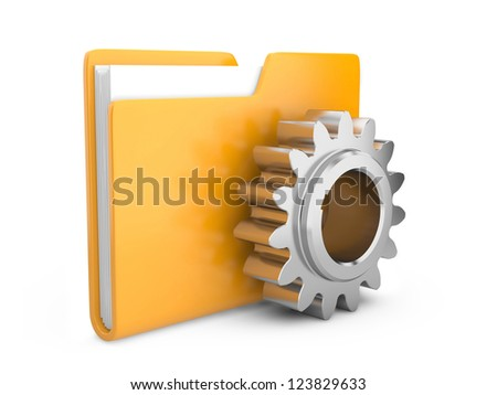 folder icon with gear wheel. settings sign