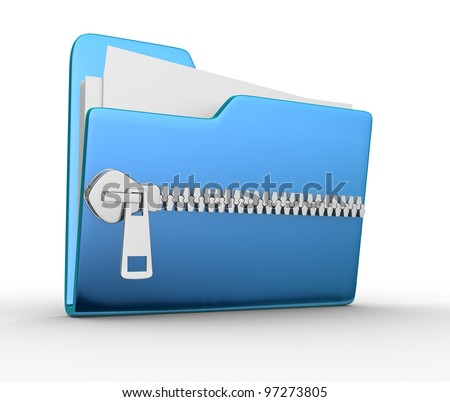 Folder icon with zip, over white background. 3d render