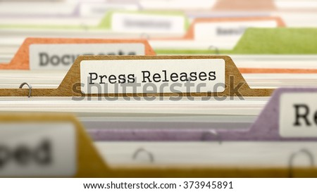 Folder in Colored Catalog Marked as Press Releases Closeup View. Selective Focus. 3d Render.