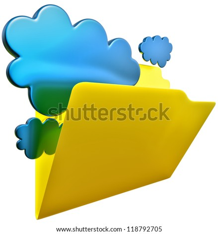folder with blue clouds as symbol of cloud storage