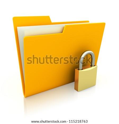 Folder with closed padlock isolated on white background