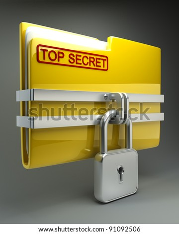 Folder with closed padlock (Top secret) High resolution. 3D image