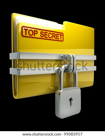 Folder with closed padlock (Top secret) isolated on black background High resolution. 3D image